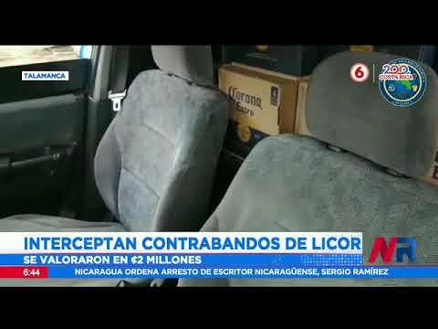 Interceptan contrabandos de licor en Talamanca