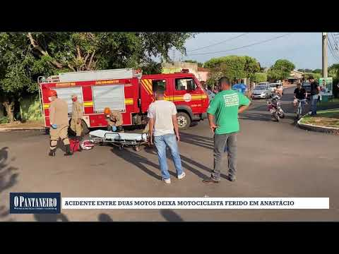 Acidente entre duas motos deixa motociclista ferido em Anastácio