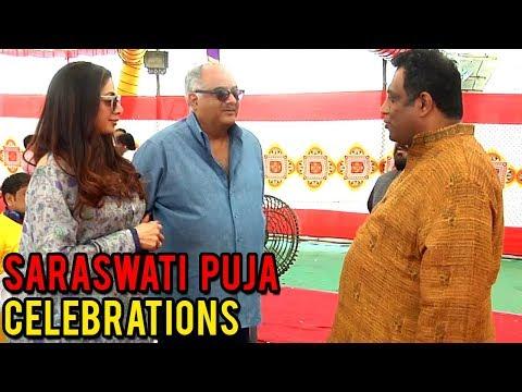 Sridevi & Boney Kapoor Spotted At Anurag Basu's Saraswati Puja