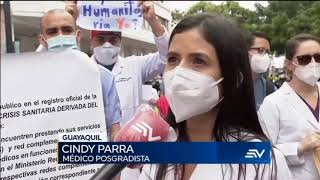Médicos posgradistas de Quito, Guayaquil y Cuenca piden al Gobierno que les pague