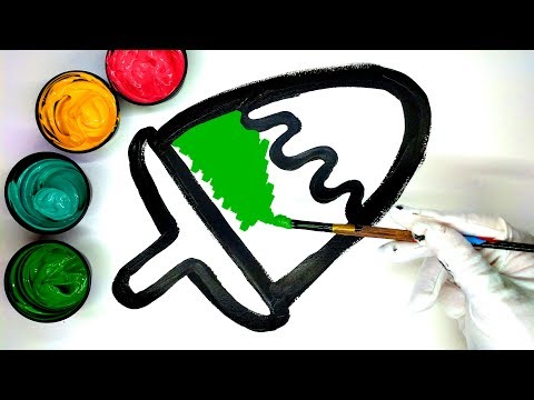 How to draw a Popsicle with Paint, Learn Colors for Kids, Painting a popsicle coloring pages