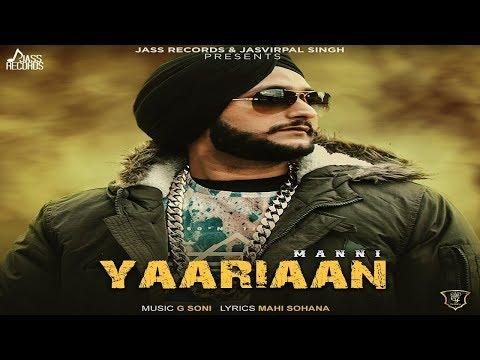 YAARIAAN LYRICS - Manni | G Soni
