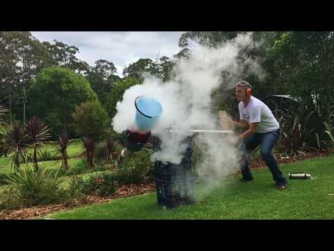 Triple Liquid Nitrogen Coke Bottle Rocket Launch