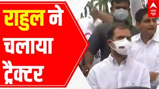 Know why Rahul Gandhi drives tractor to reach Parliament   EXCLUSIVE visuals - ABPNEWSTV