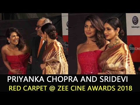Priyanka Chopra and Sridevi and Boney Kapoor at Zee Cine Awards 2018
