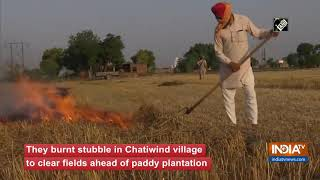 Farmers burn wheat stubble ahead of paddy plantation in Amritsar - INDIATV