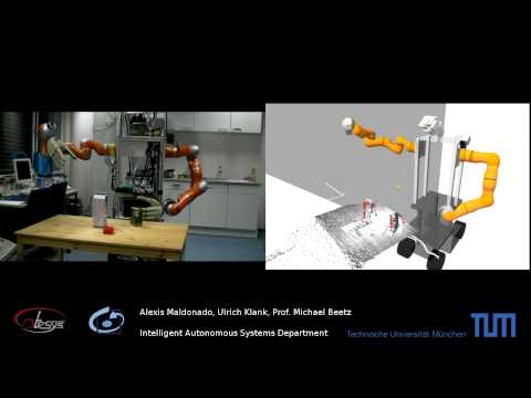 Robot grasping a box, using rviz for visualization