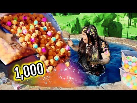 connectYoutube - 1000+ BATH BOMBS CHALLENGE! I Put 1000 Bath Bombs In My Jacuzzi