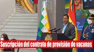 Bolivia Gobierno anuncia adquisición de la vacuna AstraZeneca y de Oxford - Suscripción del contrato