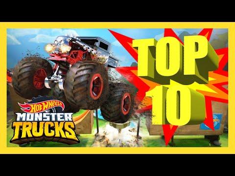 TOP 10 MONSTER TRUCK SLAMS! | Monster Trucks | Hot Wheels