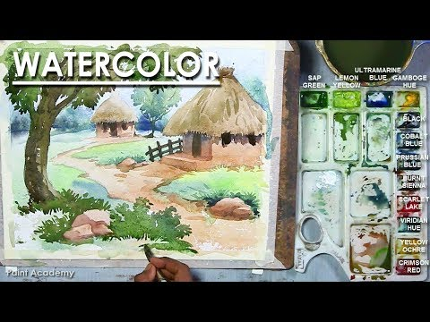 Watercolor Art : Watercolor Painting of A Village Scenery