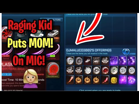 Raging Kid Puts His MOM on The MIC! (Scammer Gets Scammed) Rocket League