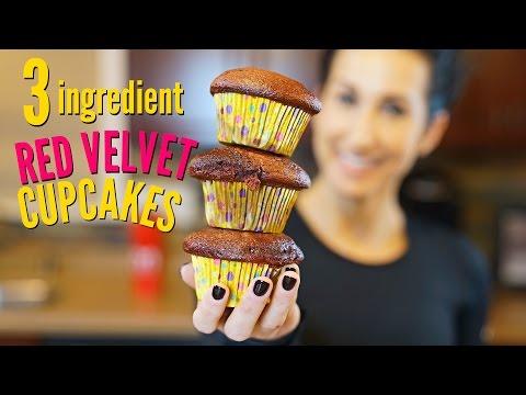 3 Ingredient EASY Red Velvet Cupcakes
