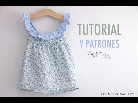 Aprender a coser: Vestido combinado cuadro y flores (Patrones gratis)
