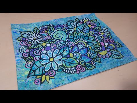 Drawing & Doodling with Paint Markers on Painted Paper Flower Doodlles