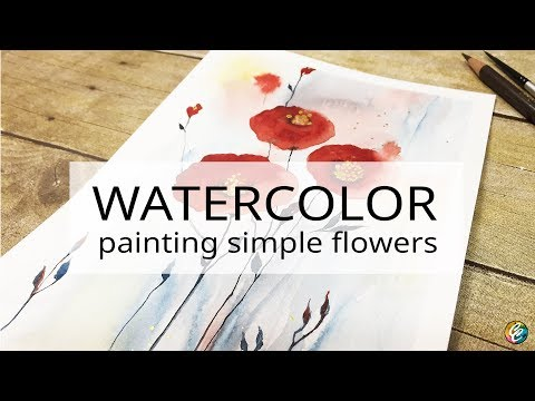 watercolor painting: simple flowers with a touch of gold