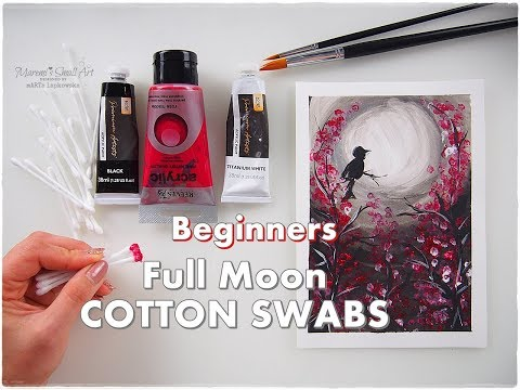 Full Moon COTTON SWABS Beginners Painting Acrylic Tutorial ♡ Maremi's Small Art ♡