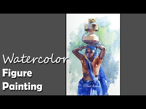 How to Paint A Tribal Woman Carrying  Water Pot in Head in Watercolor