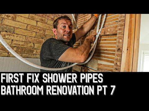 💧BATHROOM RENOVATION PT 7 - STUD WALL SHOWER PIPES