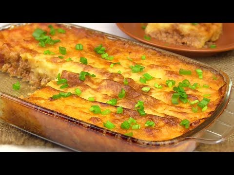 Картофельная Запеканка с мясом /Пастуший пирог/Сытный Обед на всю семью!!