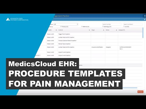 Procedures Templates for Pain Management
