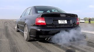 1100HP Audi S4 B5 Bi-Turbo – LOUD START  ACCELERATIONS!