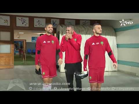 اخر حصة تدريبية للمنتخب الوطني المغربي على أرضية ملعب رادس بتونس