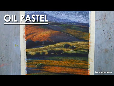 Oil Pastel Landscape : Beautiful Mountain Valley | Drawing step by step
