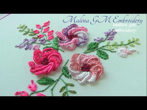 Flower embroidery | new floral design | Cast-on stitch & rococo