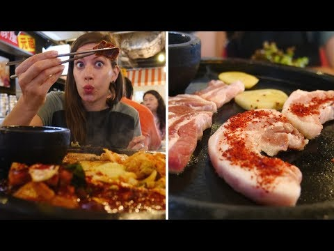 Eating Spicy Korean Barbecue Samgyeopsal (삼겹살) | Tokyo, Japan