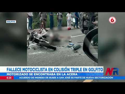 Fallece motociclista en colisión triple en Golfito