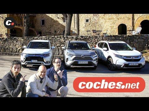 Comparativa SUV Híbridos: Toyota RAV4 / Honda CR-V / Mitsubishi Outlander PHEV | Prueba | coches.net