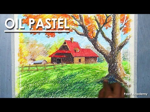 How to Draw & Color A Beautiful Autumn Season House Landscape in Oil Pastel