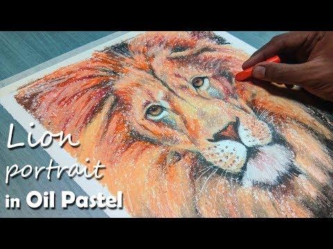 How to Paint A Lion Portrait in Oil Pastel