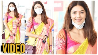 Actress Mehrene Kaur Saree Look Exclusive Visuals @ Hyderabad Airport | Tollywood - TFPC