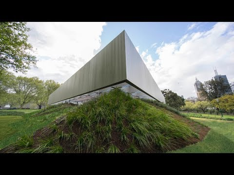 """Drone footage showcases """"floating"""" roof of OMA's MPavilion"""