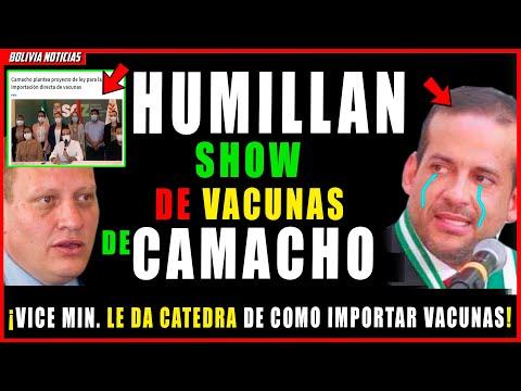 HUMILL4N A CAMACHO. DESTRO-Z4N SU PROYEC-TO DE LEY DE IMPORT. DE VACU-N4S. VICE. MIN. LE DA CATEDRA