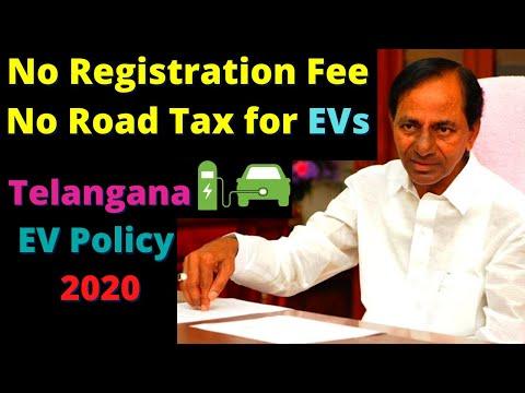 No Road Tax & Registration Fee - Telangana EV Policy 2020