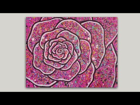 How to Paint a Splattered Rose Acrylic Painting Tutorial