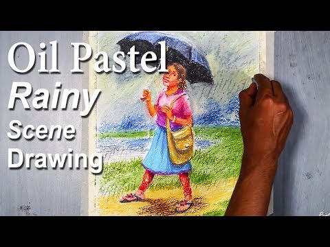 Memory Drawing : A School Girl in Rainy Day | step by step drawing from start to finish