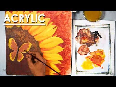 Acrylic Painting : Creative Sunflower in Canvas step by step