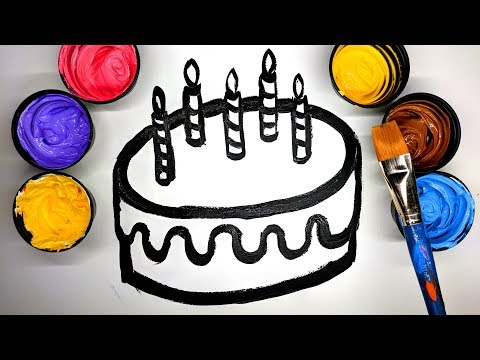 How to draw Birthday Cake with Paint, painting a Cake coloring pages, LEARN COLORS, learn to color 💜