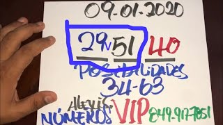 NÚMEROS PARA HOY 09 DE ENERO DEL 2020 - PARA ROMPER EN EL DÍA DE HOY.