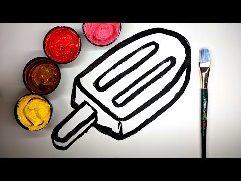 How to draw a Popsicle with Paint, coloring a popsicle drawing with paint, popsicle painting pages 💜