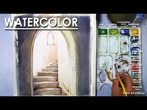 Watercolor Painting : Staircase of A Temple