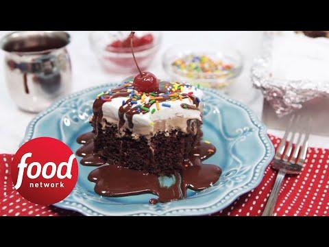 Super-Chocolate Sundae Cake Bar | Food Network