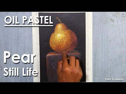 Oil Pastel Still Life Drawing : Pear Fruit | step by step