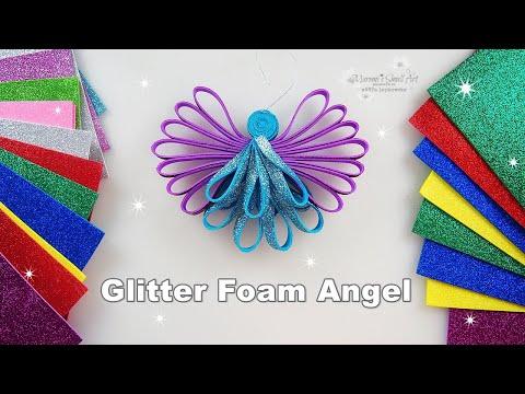 DIY Glitter Foam Angel Ornament for Christmas Tree ♡ Maremi's Small Art ♡