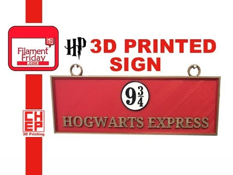3D Printed Harry Potter Platform 9 3/4 Hogwarts Express Sign