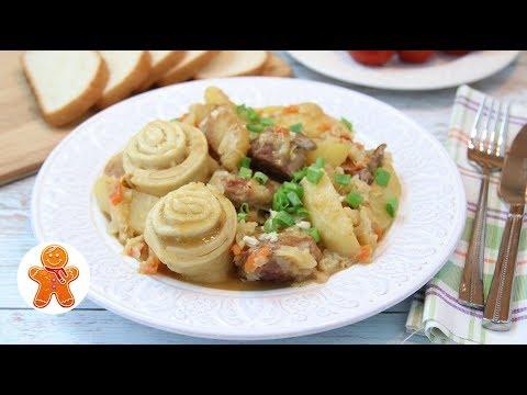 Штрудли с Капустой и Картошкой ✧ Вкусное и Сытное Мясное Блюдо